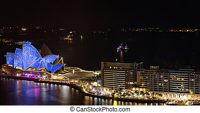 casa de ópera, sydney, noche