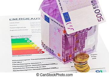 casa, de, €, billetes de banco, y, energía, rendimiento,...