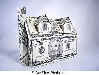 casa, de, dinero