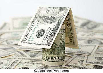 casa, de, el, dinero