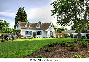 casa de familia, con, árbol