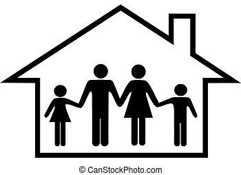 casa, de, familia feliz, padres, y, niños, seguro, en casa