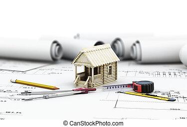 casa de madera, arquitecto, dibujos, herramientas