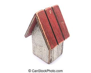 casa de madera, blanco, juguete, plano de fondo
