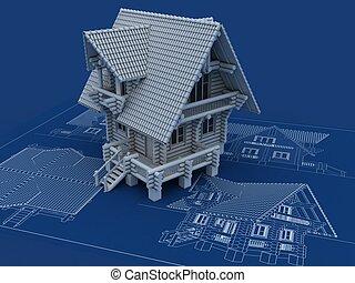 casa de madera, cianotipo