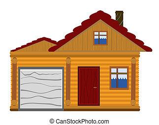 casa de madera, con, garaje
