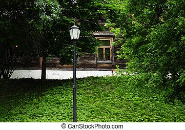casa de madera, con, un, ventana