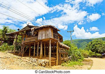 casa de madera, en, tailandia