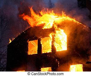 casa de madera, llamas