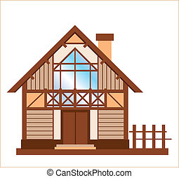casa de madera, modelo, familia