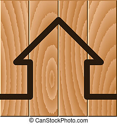 casa de madera, símbolo, vector