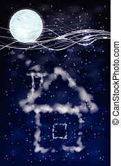 casa, de, nuvens, com, moon., ilustração