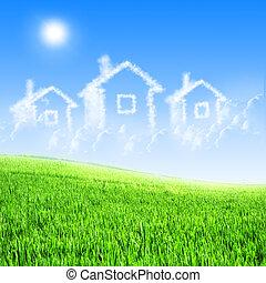 casa, de, nuvens, em, a, céu azul