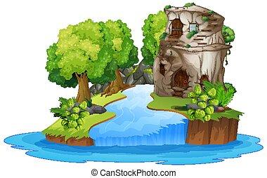 casa de piedra, luego, río