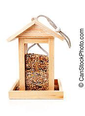 casa del pájaro, de madera, alimentador