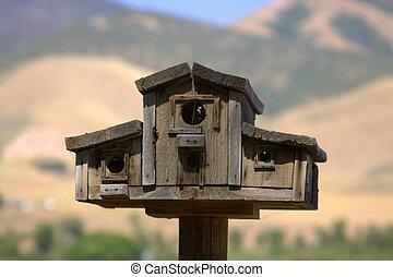 casa del pájaro, de madera