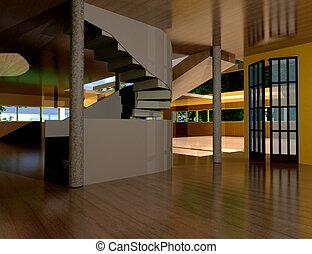 casa, dentro, -, 3d