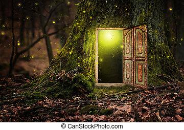 casa, dentro, albero