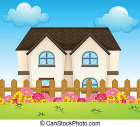 casa, dentro, cerca, concreto
