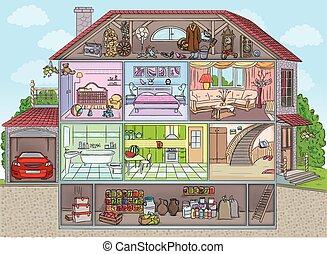 casa, dentro