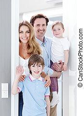 casa, dentro, família, feliz