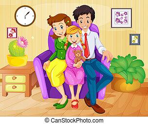 casa, dentro, famiglia