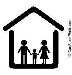 casa, dentro, familia