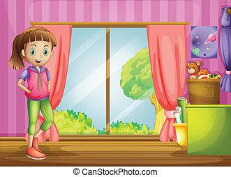 casa, dentro, niña, ella, juguetes