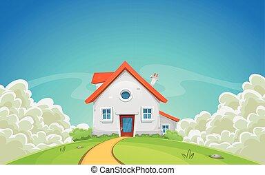 casa, dentro, nuvens, paisagem, natureza