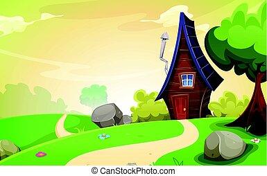 casa, dentro, paesaggio, primavera
