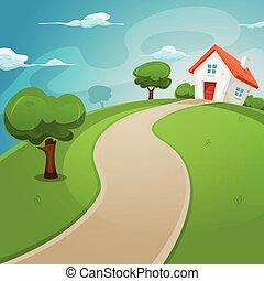 casa, dentro, verde, campos