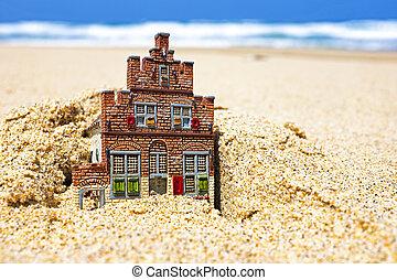 casa, desaparecer, en, el, sand.