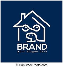 casa, desenho, cão, modelo, logotipo