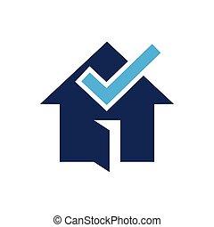 casa, desenho, cheque, logotipo