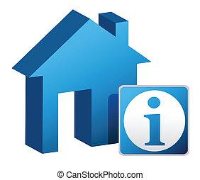 casa, desenho, informação