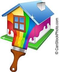 casa, desenho, quadro, negócio