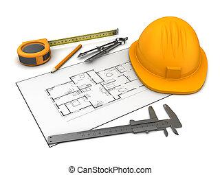 casa, desenhos técnicos, e, ferramentas