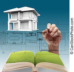 casa, desenhos técnicos, plano