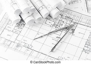 casa, desenhos técnicos, rolos, planos, arquitetura