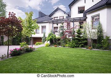 casa, destacado, externo, vista