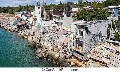 casa, destruido, costa, después, terremoto