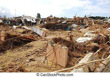casa, destruido, por, tifón, inundación