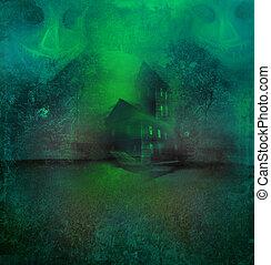 casa, dia das bruxas, fundo, assombrado, grungy