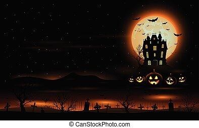 casa, dia das bruxas, vetorial, assombrado, fundo, mansão