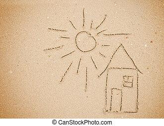 casa, dibujado, en la arena, en la playa