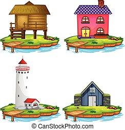 casa, diferente, jogo, ilha
