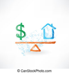casa, dinero, balance, grunge, icono