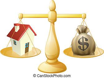 casa, dinheiro, saco, escalas