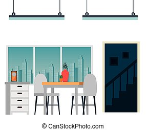 casa, dinning, posto, scena, stanza