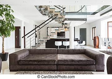casa, diseñado, costoso, sofá